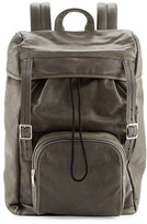 Saint Laurent Calf Leather Hunting Backpack, Gray