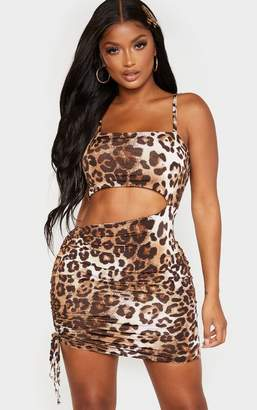 PrettyLittleThing Shape Brown Leopard Print Slinky Cut Out Side Ruched Bodycon Dress