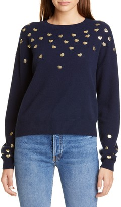 Autumn Cashmere Sequin Heart Cashmere Sweater