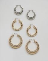 Monki 3 Pack Sovereign Hoop Earrings