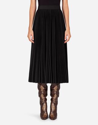 Dolce & Gabbana Pleated Wool Calf-Length Skirt