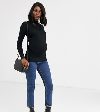 Mama Licious Mamalicious Maternity high neck top with lace insert in black