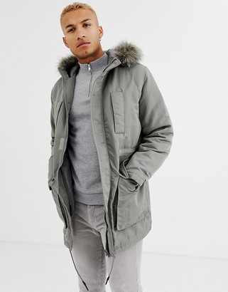 Asos Design DESIGN parka jacket in grey with faux fur lining