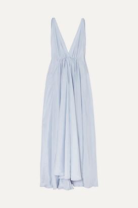 Kalita Clemence Gathered Silk-habotai Maxi Dress - Lavender