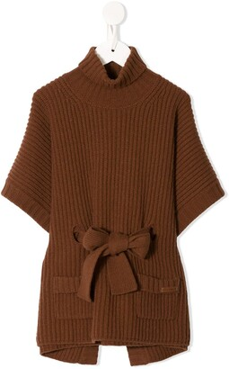 Dolce & Gabbana Kids Belted Knitted Poncho