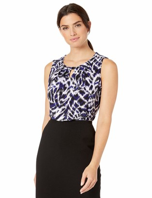 Kasper Women's Sleeveless Jewel Neck Sketched Zebra Printed TOP