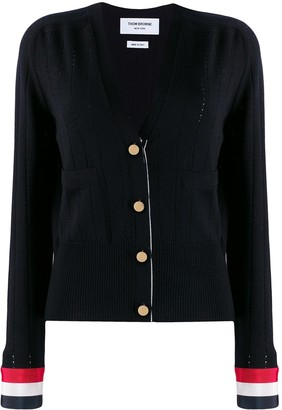 Thom Browne Pointelle Stitch V-Neck Cardigan
