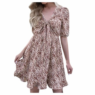 Huluob Hollow Lace for Women in the Chest with Ruffles Short Sleeves Loose Bodycon Tie Waist Chiffon Dress Business Casual Dress with Belt Women Dress - Beige - L