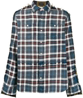 R 13 distressed style plaid shirt