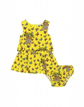 Moschino Butterflies Teddy Bear Dress And Briefs Set Unisex Yellow Size 3/6m It