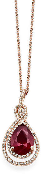 Effy Final Call Lead Glass-Filled Ruby & 1/4 CT. T.W. Diamond 14K Rose Gold Pendant Necklace
