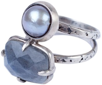 Chan Luu Grey Freshwater Cultured Pearl and Labradorite Stone Sterling Silver Ring Size 6