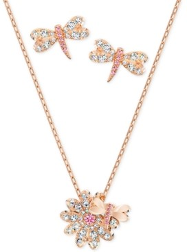 "Swarovski Rose Gold-Tone Dragonfly Crystal Stud Earrings & Pendant Necklace, 14-7/8"" + 2"" extender"