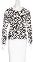 Diane von Furstenberg Cheetah Print Crew Neck Cardigan