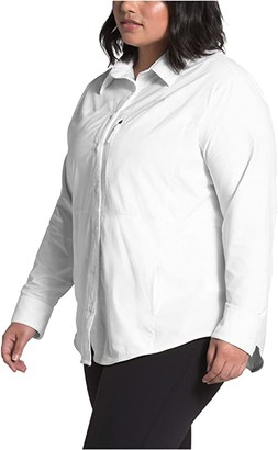 The North Face Plus Size Outdoor Trail Long Sleeve Shirt (TNF White) Women's Clothing