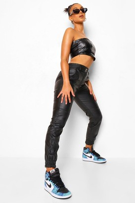 boohoo Popper Detail Panelled Leather Look Pu Jogger
