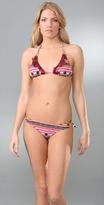 Aztec Ruffle Triangle Bikini Top