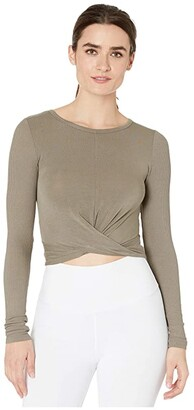Alo Cover Long Sleeve Top (White) Women's Clothing