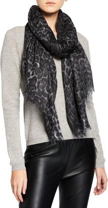 Sofia Cashmere Lightweight Cashmere Leopard-Print Scarf