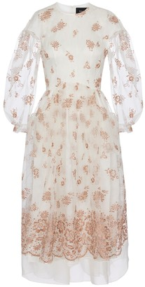 Simone Rocha Exclusive to Mytheresa Embroidered organza midi dress