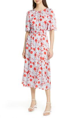 By Ti Mo Floral Satin Midi Dress