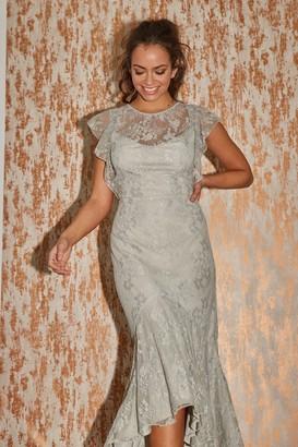Little Mistress Danni Waterlily Lace Hi-Low Maxi Dress