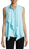 Escada Ruffled Sleeveless Button-Front Blouse, Cerulean