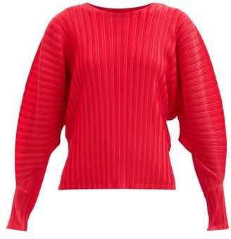 Pleats Please Issey Miyake Dolman-sleeve Technical-pleated Top - Red