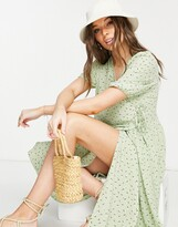 Thumbnail for your product : Monki Yoana recycled midi wrap dress in green floral print