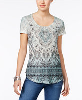 Style&Co. Style & Co Style & Co Petite Embellished Printed T-Shirt, Created for Macy's