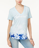 GUESS Washed Floral-Print Logo T-Shirt