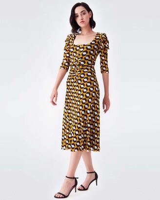 Diane von Furstenberg Abra Mesh Midi Dress in Arrow Head