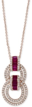 "Effy Certified Ruby (5/8 ct. t.w.) & Diamond (1/2 ct. t.w.) 18"" Pendant Necklace in 14k Rose Gold"