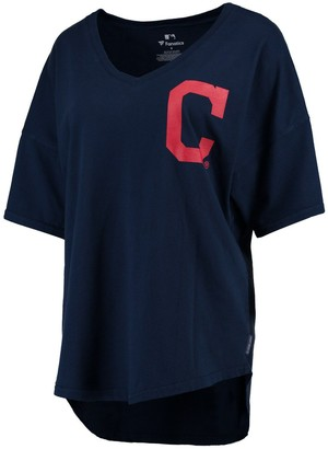 Fanatics Women's Navy Cleveland Indians Oversized Spirit Jersey V-Neck T-Shirt