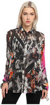 Just Cavalli Long Sleeve Printed Sheer Top