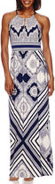 London Times Sleeveless Keyhole Halter Tribal Maxi Dress