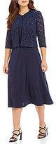 Jessica Howard Plus Sequined Lace 2-Piece Jacket Dress