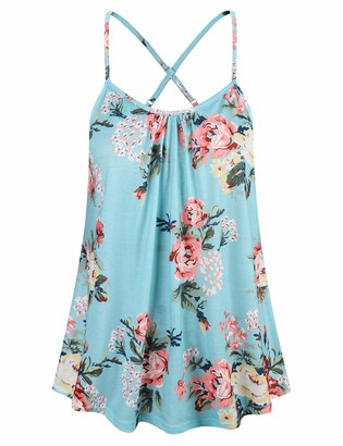 Cyanstyle Floral Sleeveless Tank Casual Stretchy Pattern Summer Camis Light Blue XL