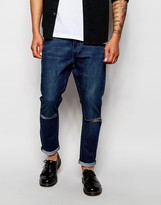Cheap Monday Jeans Dropped Crotch Skinny Fit Prosper Mid Wash Knee Rips - Blue