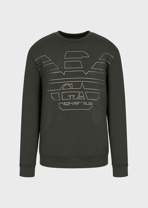 Emporio Armani Micro-Studded, Double-Jersey Sweatshirt With Oversized Stencilled Eagle