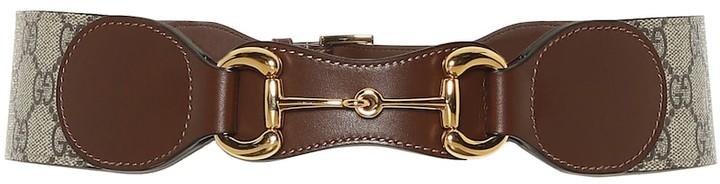 Gucci Horsebit leather and canvas belt