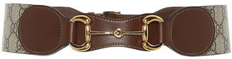 Gucci Horsebit leather and canvas belt