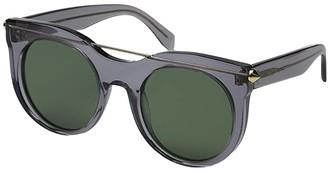 Alexander McQueen AM0001S (Transparent Grey/Green) Fashion Sunglasses