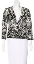 Tibi Leather-Trimmed Long Sleeve Blazer
