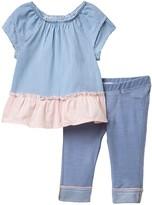 BCBGMAXAZRIA Striped Blouse & Leggings Set (Baby Girls)