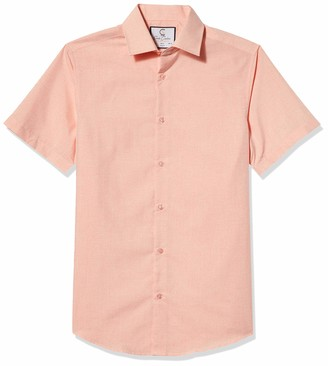 Azaro Uomo Men's Button Down Collar Short Sleeve Dress Shirt Color Slim