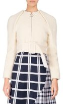 Victoria Beckham Cropped Zip-Front Teddy Jacket with Belt, Neutral