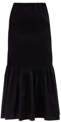 Brock Collection Rafano Smocked Cotton-blend Midi Skirt - Black