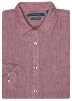 Perry Ellis Solid Linen Roll Sleeve Shirt