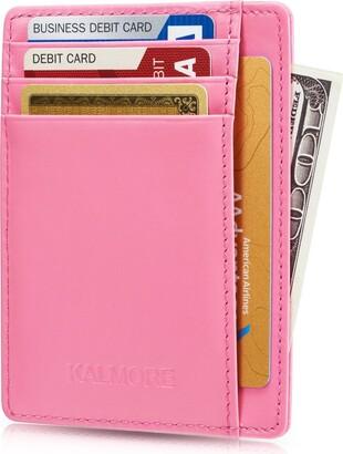 KALMORE Womens Credit Card Holder Genuine Leather Slim Thin Pocket Wallet Minimalist Wallet Money Clip RFID Block
